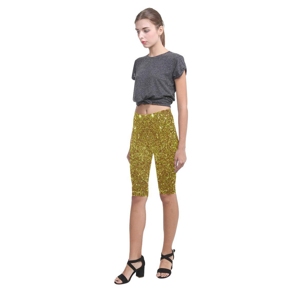 Gold Glitter All-Over Cropped Leggings-Leggings-JEFAMO