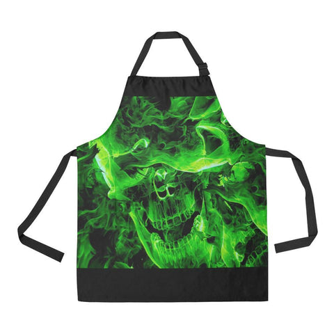 Image of Green Burning Skulls All Over Print Adjustable Apron-Aprons-JEFAMO