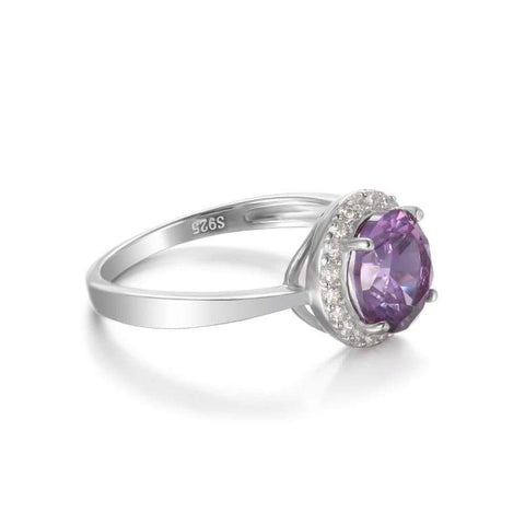 Image of Halo Created Alexandrite Sapphire Ring 925 Sterling Silver-JP_RINGS-JEFAMO