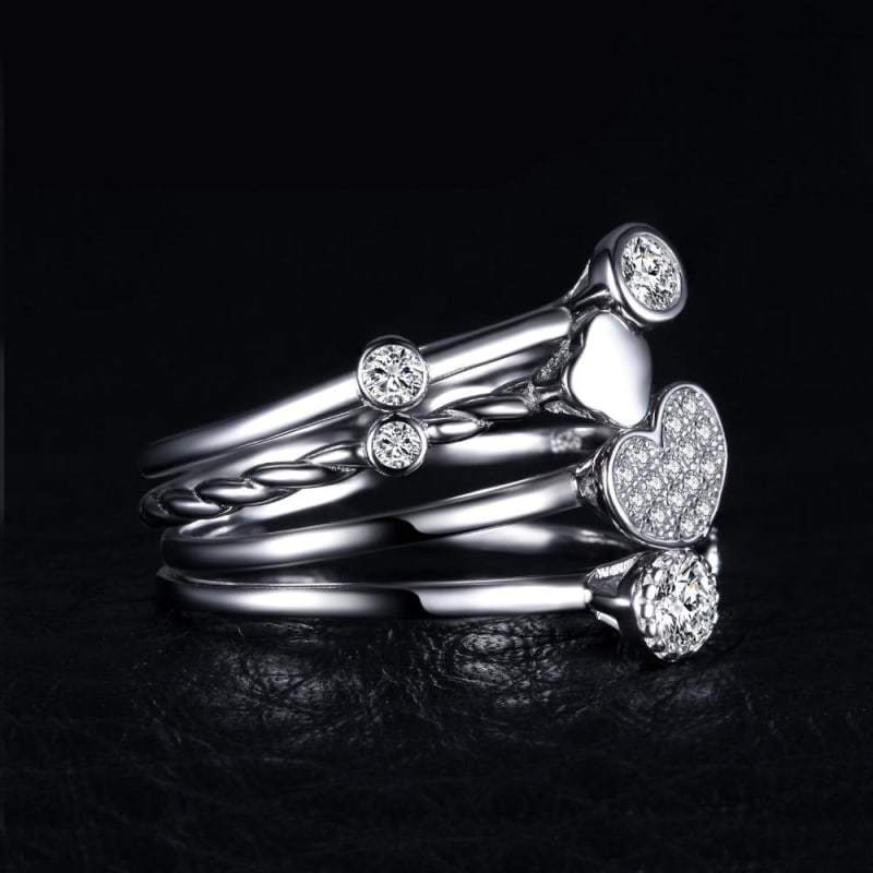 Heart Shaped 4 Pieces Band Ring Set 925 Sterling Silver-JP_RINGS-JEFAMO