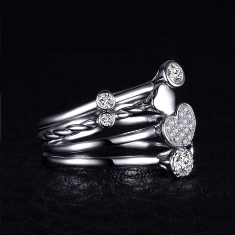 Image of Heart Shaped 4 Pieces Band Ring Set 925 Sterling Silver-JP_RINGS-JEFAMO