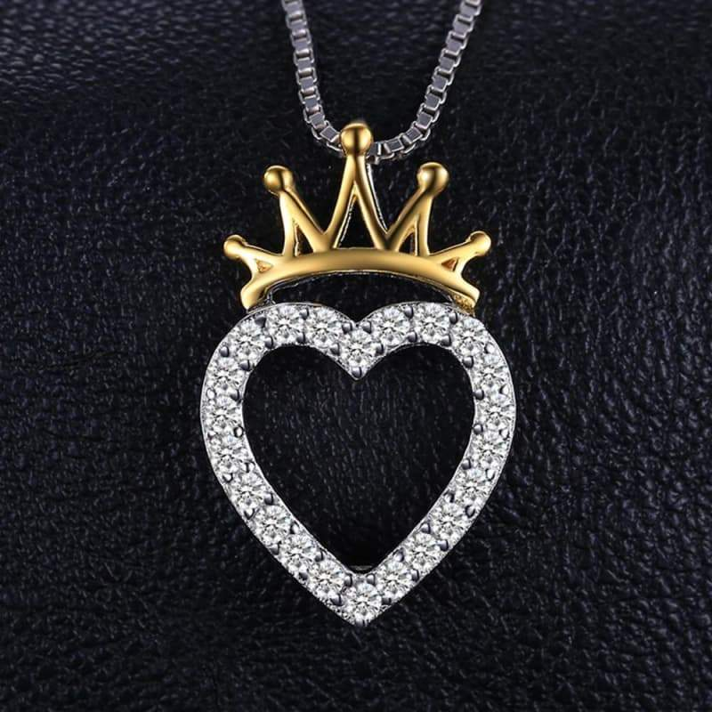 Heart Shaped Cubic Zirconia with Crown Gold Plated Pendant 925 Sterling Silver-JP_PENDANTS-JEFAMO