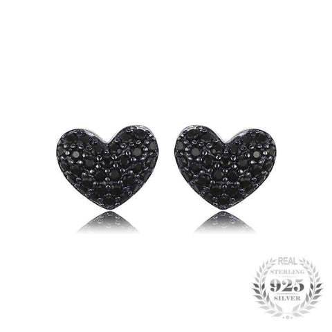 Image of Heart Shaped Natural Black Spinel Earrings 925 Sterling Silver-JP_EARRINGS-JEFAMO