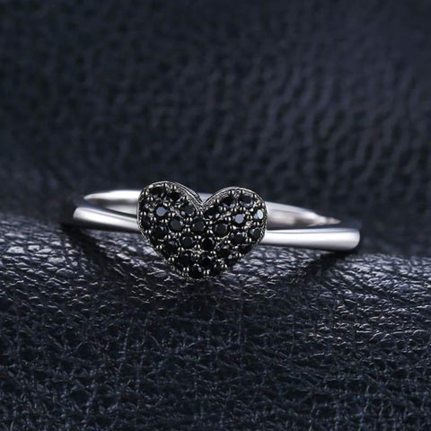 Image of Heart Shaped Natural Black Spinel Ring 925 Sterling Silver-JP_RINGS-JEFAMO