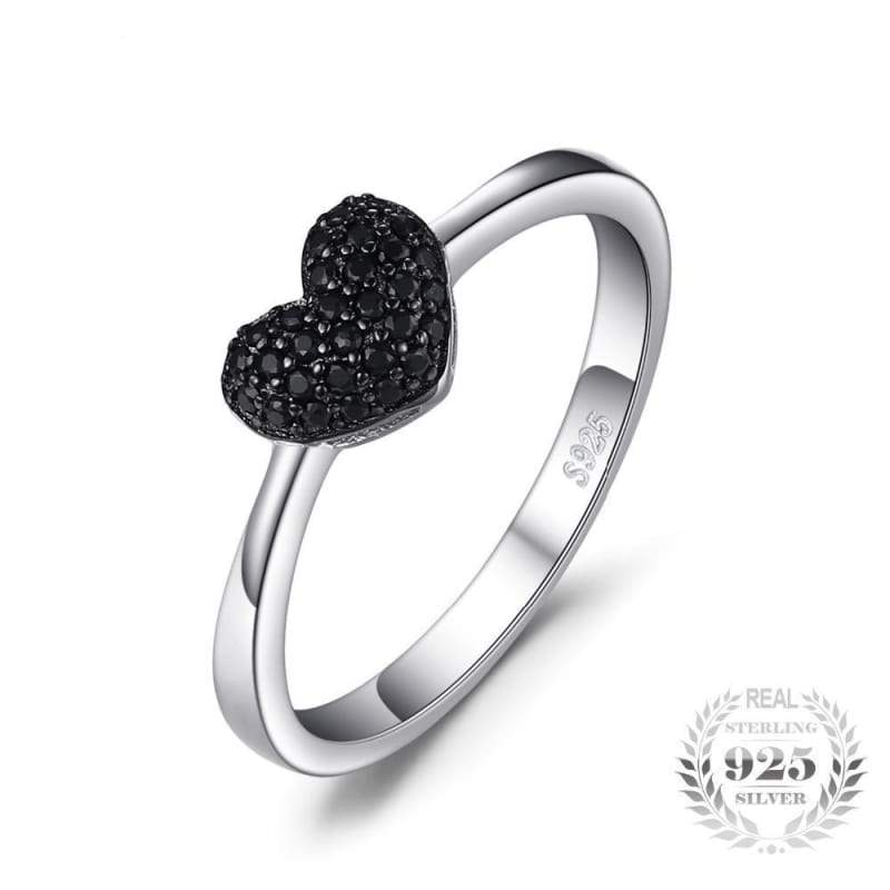 Heart Shaped Natural Black Spinel Ring 925 Sterling Silver-JP_RINGS-JEFAMO