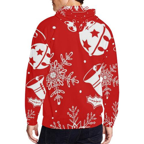 Image of Holiday Cheer Men's All Over Print Full Zip Hoodie (Model H14)-All-over Hoodies-JEFAMO