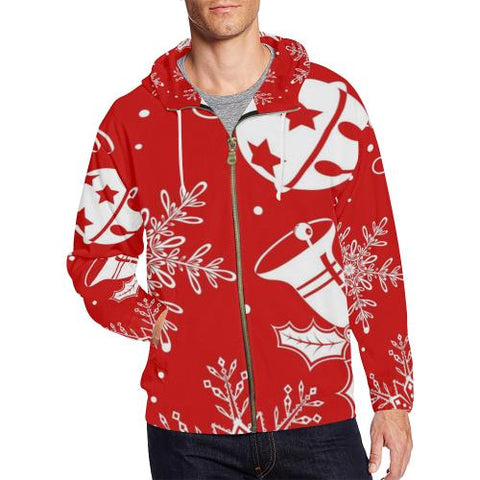 Holiday Cheer Men's All Over Print Full Zip Hoodie (Model H14)-All-over Hoodies-JEFAMO