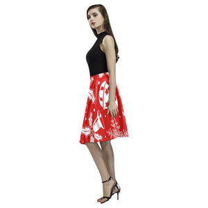 Holiday Cheer Women's Pleated Midi Skirt (Model D15)
