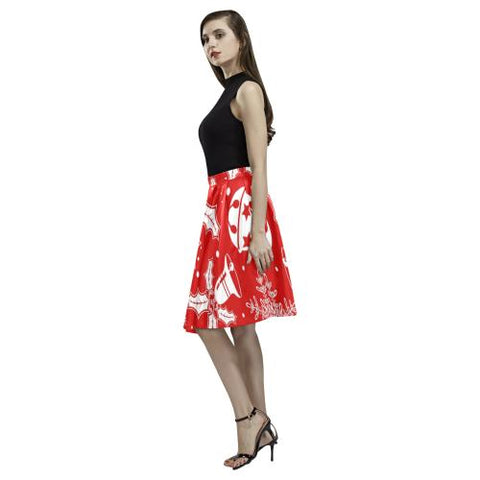 Holiday Cheer Women's Pleated Midi Skirt (Model D15)-Skirts-JEFAMO