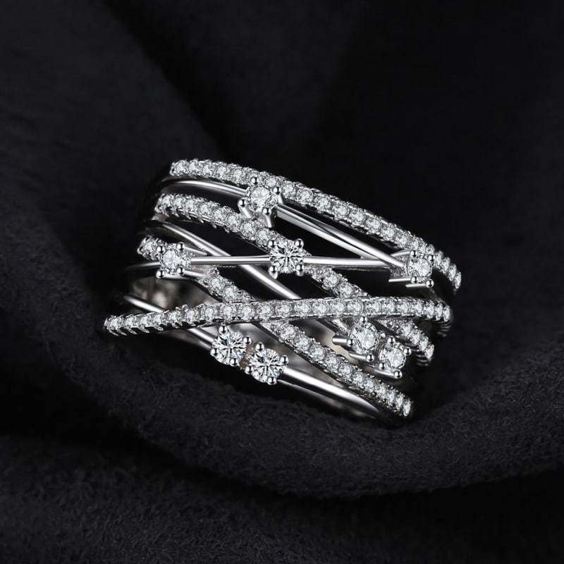 Luxurious Round Wide Cocktail Band Ring 925 Sterling Silver-JP_RINGS-JEFAMO