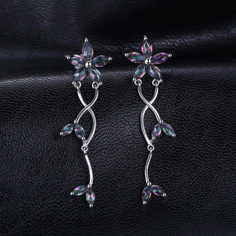 Marquise Natural Fire Rainbow Mystic Topaz Earrings 925 Sterling Silver-JP_EARRINGS-JEFAMO