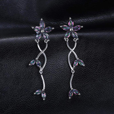 Image of Marquise Natural Fire Rainbow Mystic Topaz Earrings 925 Sterling Silver-JP_EARRINGS-JEFAMO