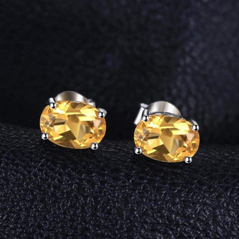 Image of Natural Citrine Birthstone Solitaire Earrings 925 Sterling Silver-JP_EARRINGS-JEFAMO