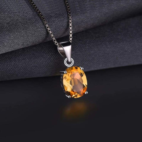 Image of Natural Citrine Birthstone Solitaire Pendant 925 Sterling Silver-JP_PENDANTS-JEFAMO