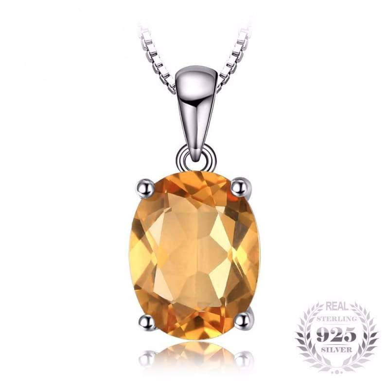 Natural Citrine Birthstone Solitaire Pendant 925 Sterling Silver-JP_PENDANTS-JEFAMO