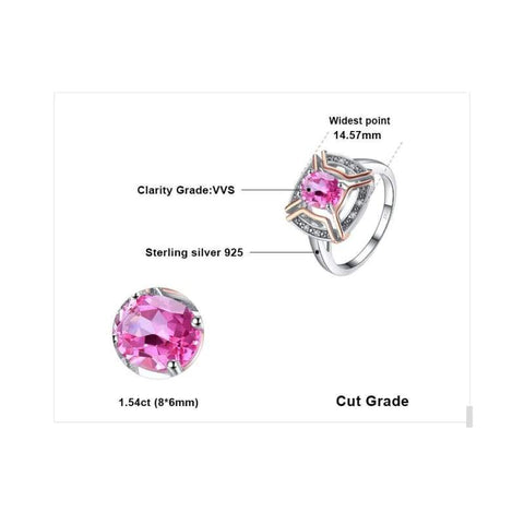 Image of Natural Pink Topaz Ring 925 Sterling Silver-JP_RINGS-JEFAMO