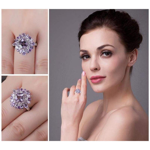 Image of Natural Purple Amethyst Ring 925 Sterling Silver-JP_RINGS-JEFAMO