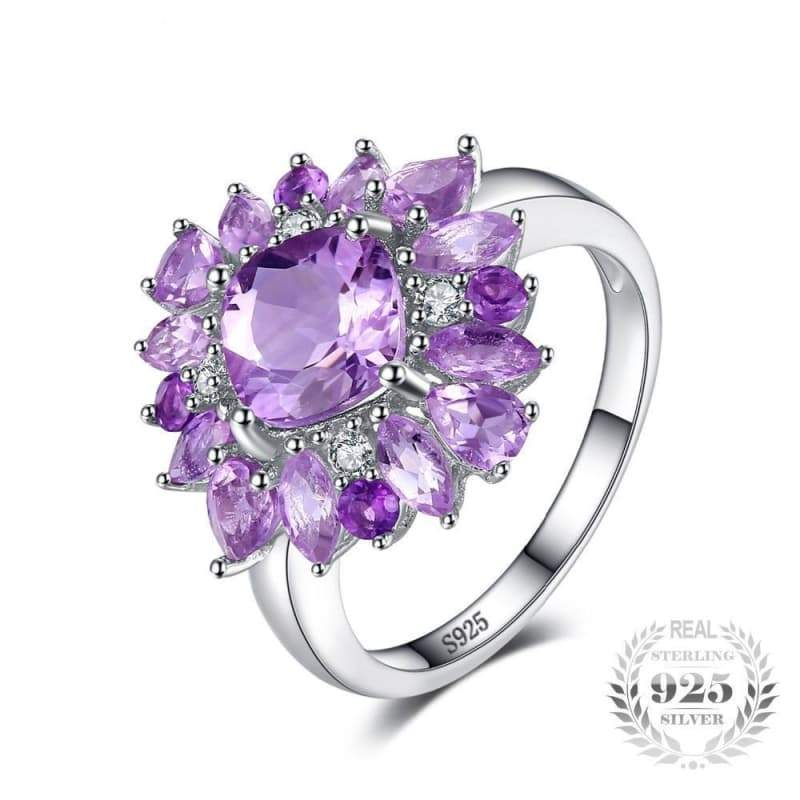 b625ef3c4cbeb6 Natural Purple Amethyst Ring 925 Sterling Silver Fine Jewelry – JEFAMO