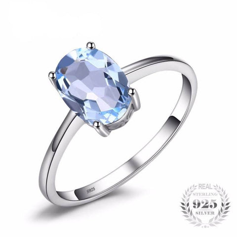 Image of Natural Sky Blue Topaz Birthstone Solitaire Ring 925 Sterling Silver-JP_RINGS-JEFAMO