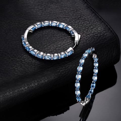 Natural Sky Blue Topaz Hoop Earrings 925 Sterling Silver-JP_EARRINGS-JEFAMO