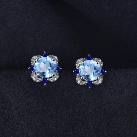 Image of Natural Sky Blue Topaz with Inlay Sapphire Earrings 925 Sterling Silver-JP_EARRINGS-JEFAMO