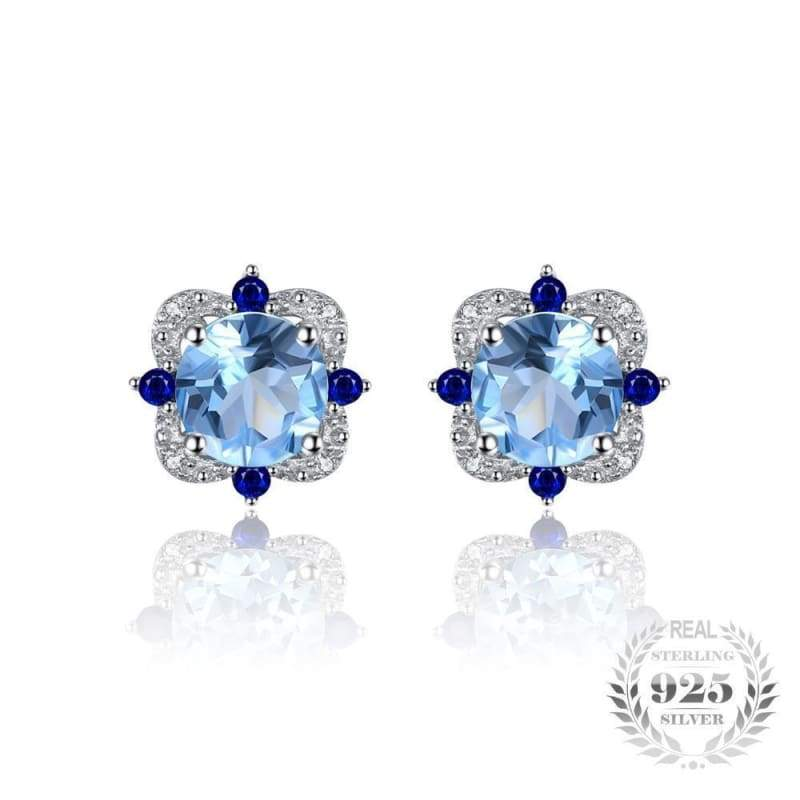 Natural Sky Blue Topaz with Inlay Sapphire Earrings 925 Sterling Silver-JP_EARRINGS-JEFAMO