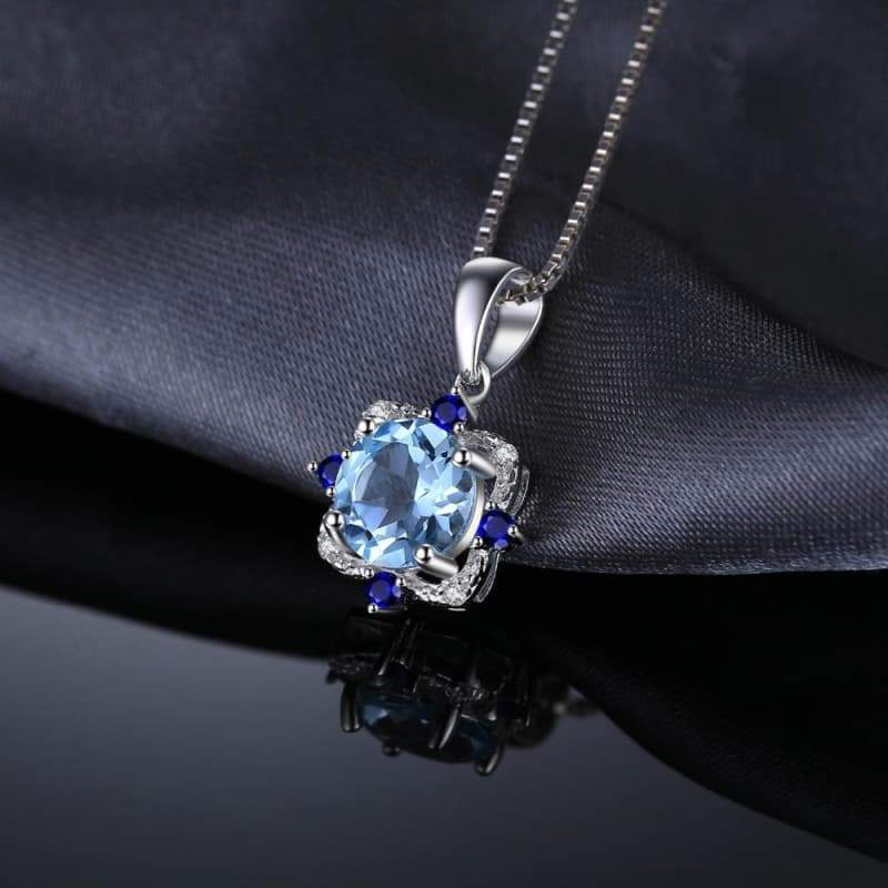Natural Sky Blue Topaz with Inlay Sapphire Pendant 925 Sterling Silver-JP_PENDANTS-JEFAMO