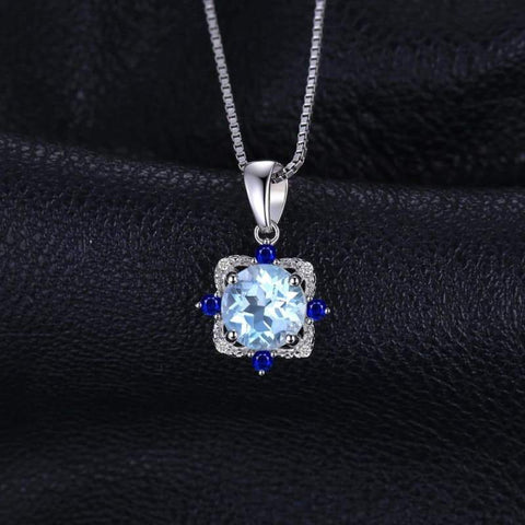 Image of Natural Sky Blue Topaz with Inlay Sapphire Pendant 925 Sterling Silver-JP_PENDANTS-JEFAMO