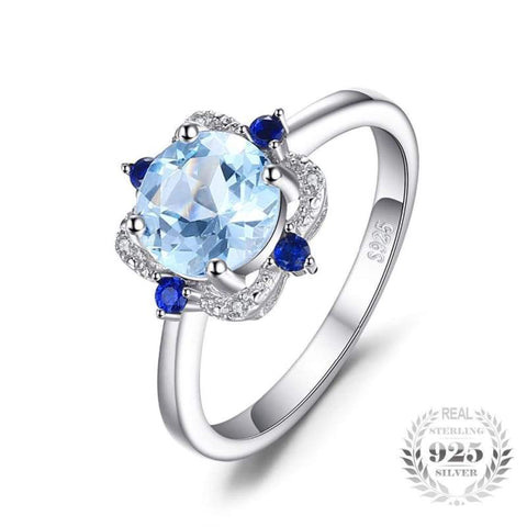 Image of Natural Sky Blue Topaz with Inlay Sapphire Ring 925 Sterling Silver-JP_RINGS-JEFAMO
