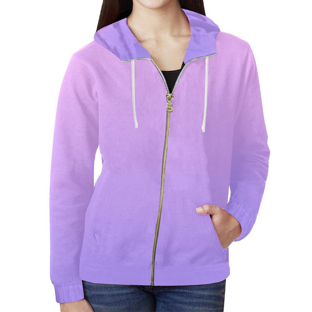 Night Fade Design 1 Women's All Over Print Full Zip Hoodie-Hoodies-JEFAMO