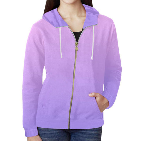 Image of Night Fade Design 1 Women's All Over Print Full Zip Hoodie-Hoodies-JEFAMO