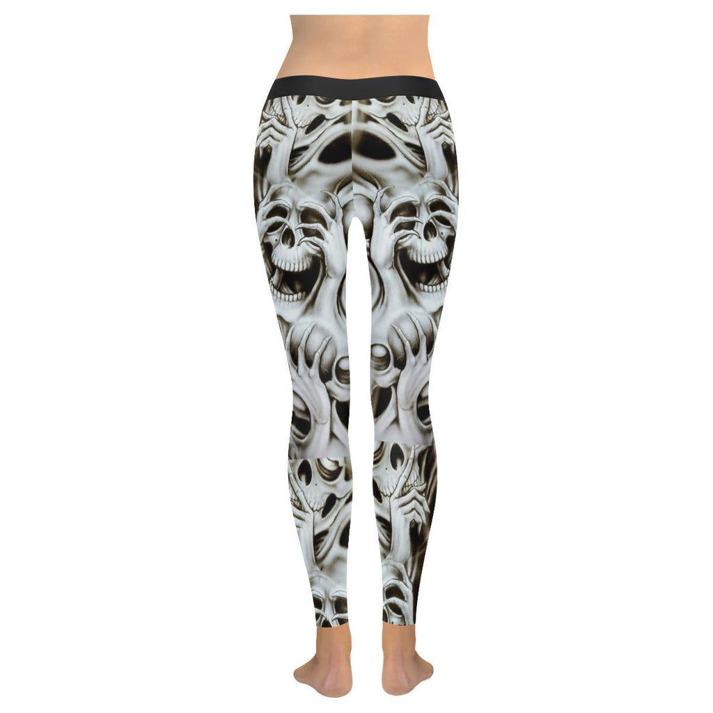 No Evil Skulls All-Over Low Rise Leggings-Leggings-JEFAMO