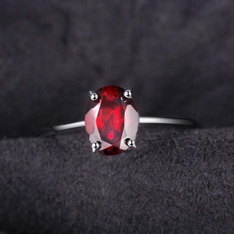 Image of Oval Natural Red Garnet Birthstone Ring 925 Sterling Silver-JP_RINGS-JEFAMO