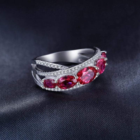 Oval Shaped Created Red Ruby Cross-Over Ring 925 Sterling Silver-JP_RINGS-JEFAMO