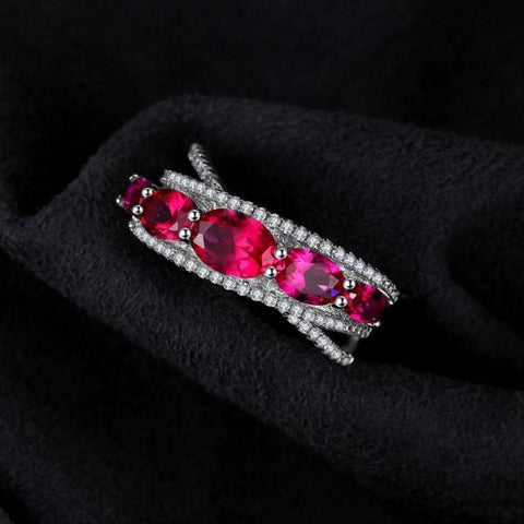 Image of Oval Shaped Created Red Ruby Cross-Over Ring 925 Sterling Silver-JP_RINGS-JEFAMO