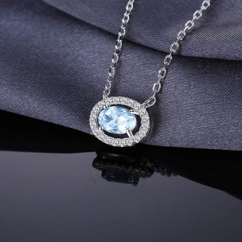 Image of Oval Shaped Natural Blue Topaz Pendant 925 Sterling Silver-JP_PENDANTS-JEFAMO