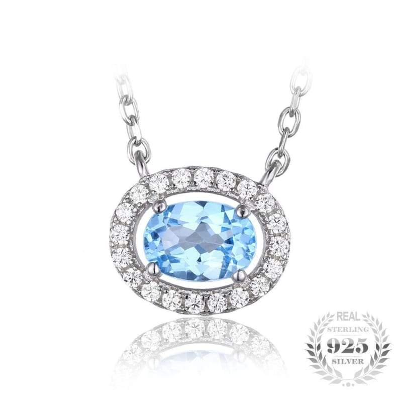 Oval Shaped Natural Blue Topaz Pendant 925 Sterling Silver-JP_PENDANTS-JEFAMO