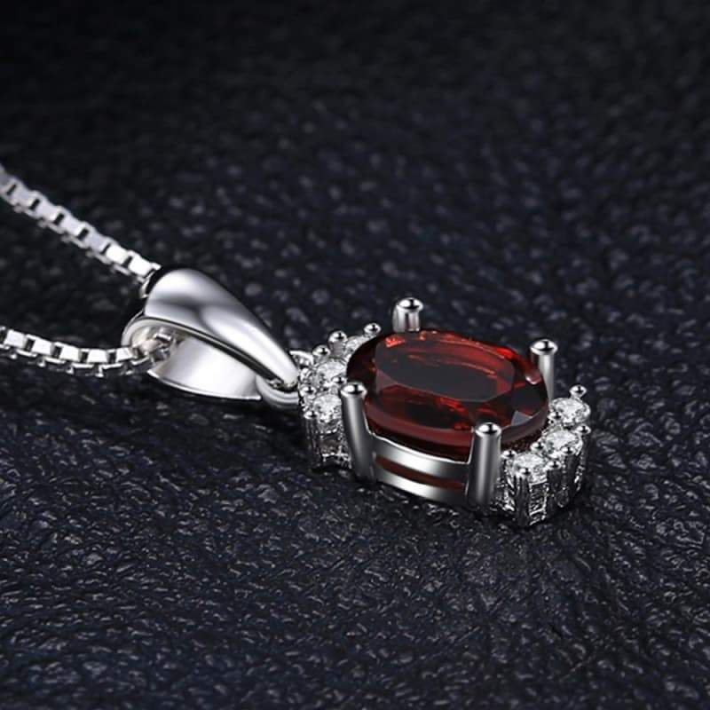 Oval Shaped Natural Garnet Stud Pendant 925 Sterling Silver-JP_PENDANTS-JEFAMO