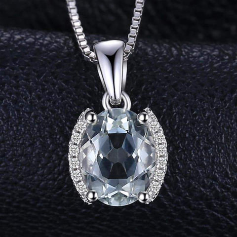 Image of Oval Shaped Natural Green Amethyst Pendant 925 Sterling Silver-JP_PENDANTS-JEFAMO