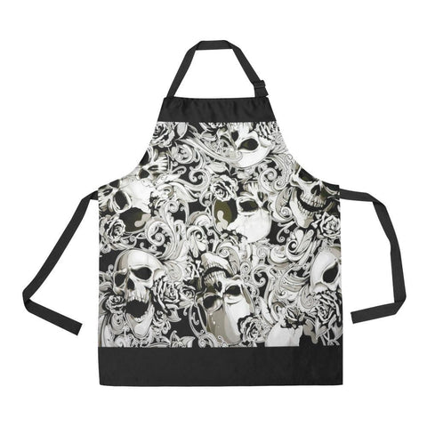 Image of Paisley Skulls All Over Print Adjustable Apron-Aprons-JEFAMO