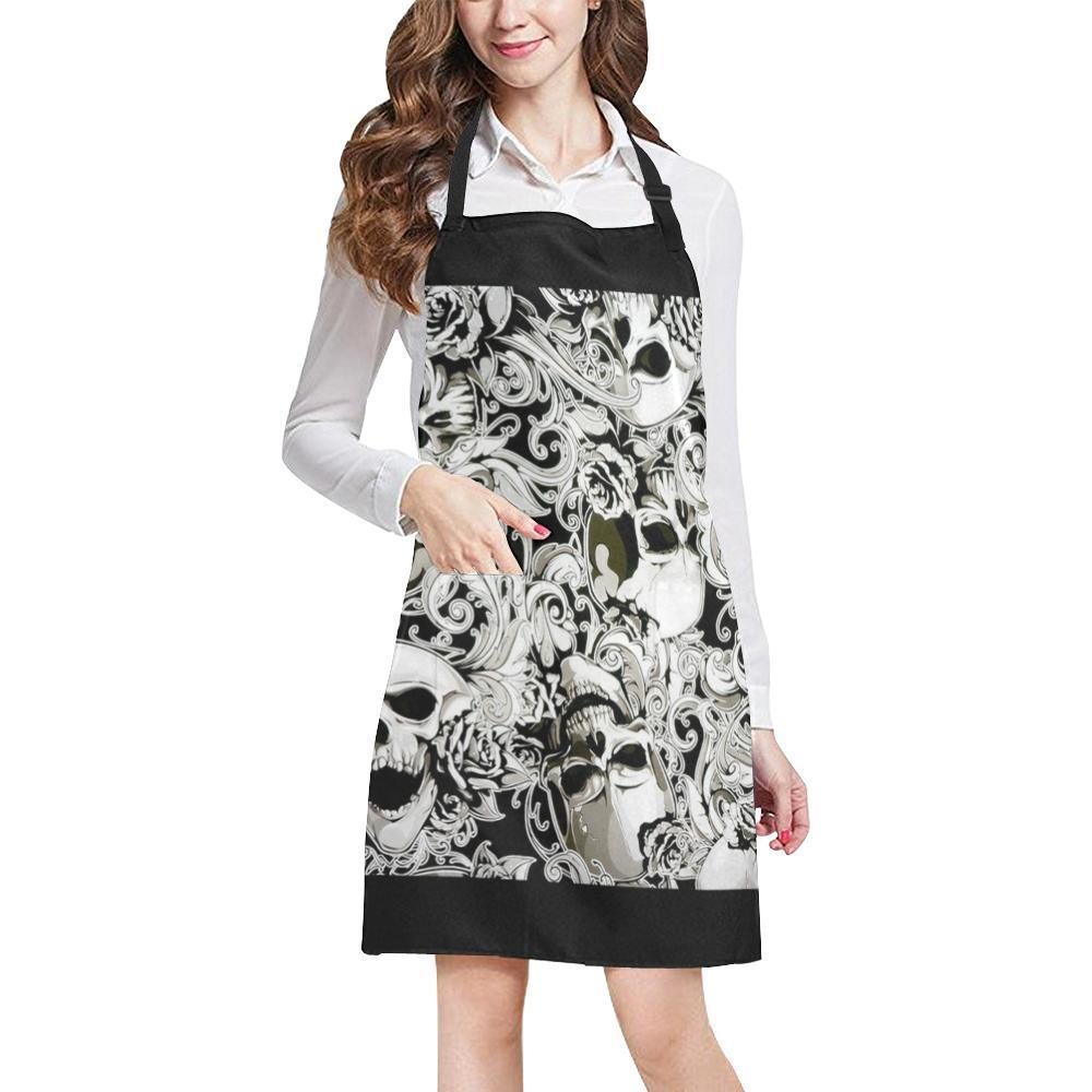 Paisley Skulls All Over Print Adjustable Apron-Aprons-JEFAMO