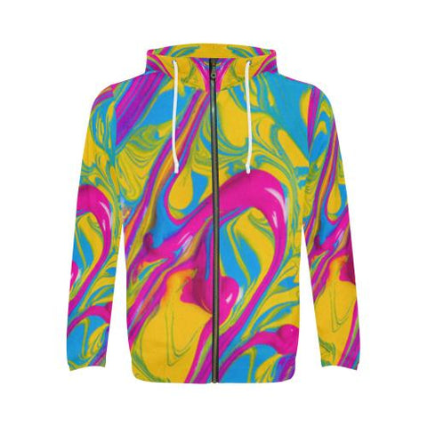 Image of Pattern Design 1 Men's All Over Print Full Zip Hoodie (Model H14)-All-over Hoodies-JEFAMO
