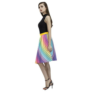 Pattern Design 10 Women's Pleated Midi Skirt (Model D15)