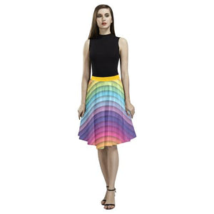 Pattern Design 10 Women's Pleated Midi Skirt (Model D15)-Skirts-JEFAMO