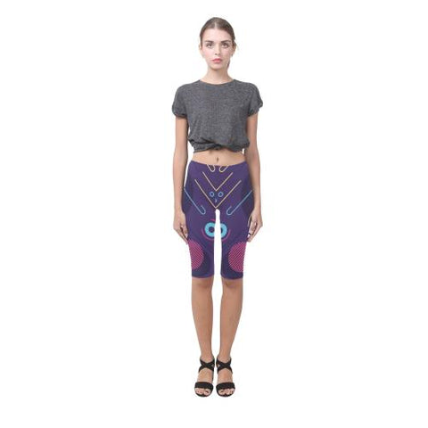 Pattern Design 11 All-Over Cropped Leggings (Model L03)-Leggings-JEFAMO