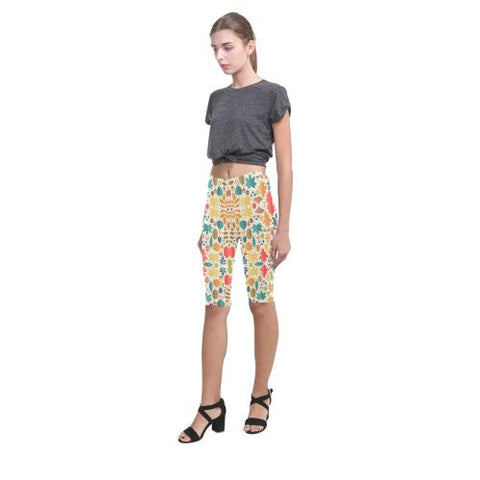 Pattern Design 12 All-Over Cropped Leggings (Model L03)-Leggings-JEFAMO