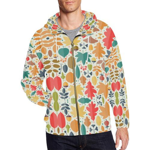 Image of Pattern Design 12 Men's All Over Print Full Zip Hoodie (Model H14)-All-over Hoodies-JEFAMO