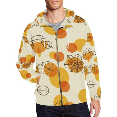 Image of Pattern Design 13 Men's All Over Print Full Zip Hoodie (Model H14)-All-over Hoodies-JEFAMO