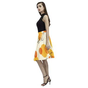 Pattern Design 13 Women's Pleated Midi Skirt (Model D15)