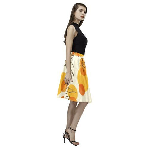 Pattern Design 13 Women's Pleated Midi Skirt (Model D15)-Skirts-JEFAMO